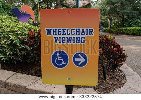 Orlando, Florida. November 06, 2019. Wheelchair Viewing In Sea Lions Theater At Seaworld
