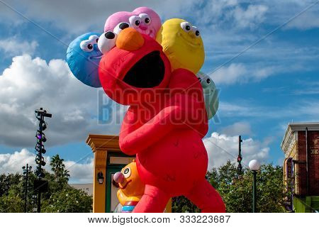 Orlando, Florida. November 06, 2019. Top View Of Big Elmo In Sesame Street Party Parade At Seaworld