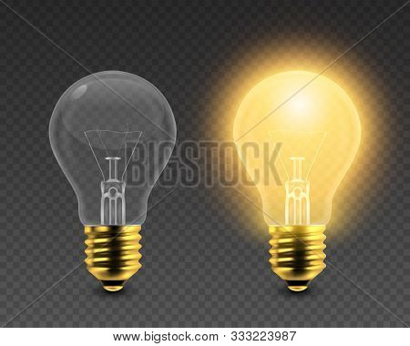 Vector 3d Realistic Turning On And Off Light Bulb Icon Set Closeup Isolated On Transparent Backgroun