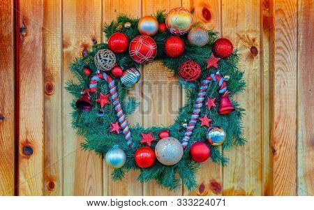 Christmas Wreath On Night Christmas Market At Charlottenburg Palace Berlin New