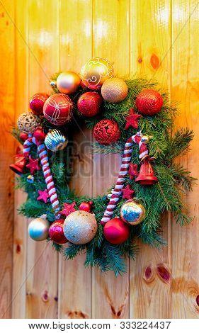 Christmas Wreath On Night Christmas Market Charlottenburg Palace Berlin New