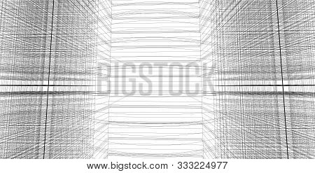 Architecture Building 3d Illustration, 3d Illustration Architecture Building Perspective Lines, Mode