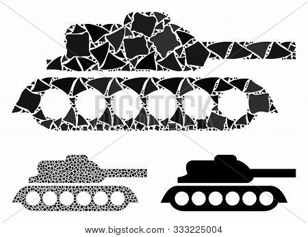 Military Tank Mosaic Of Abrupt Elements In Various Sizes And Color Hues, Based On Military Tank Icon