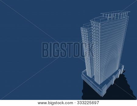 3d Illustration Architecture Building Perspective Lines, Modern Urban Architecture Abstract Backgrou