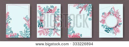 Wild Herb Twigs, Tree Branches, Leaves Floral Invitation Cards Collection. Bouquet Wreath Modern Car