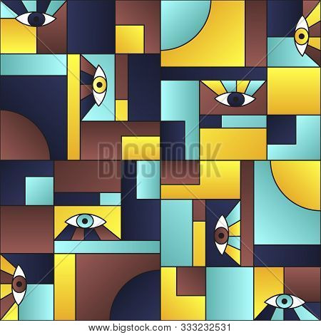 Flat pattern with eyes in geometric shapes grid mondrian avant garde fashion textile print. Modern background design. Open eyes bauhaus geometric seamless pattern. Gradient vector design. poster