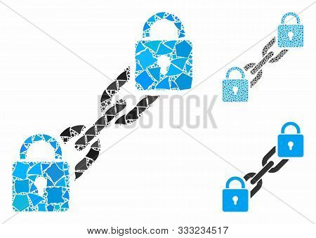 Lock Blockchain Mosaic Of Uneven Parts In Various Sizes And Shades, Based On Lock Blockchain Icon. V