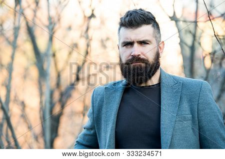 Fine Grooming For Modern Savage. Bearded Man With Brutal Beard. Hipster Wear Long Beard And Mustache