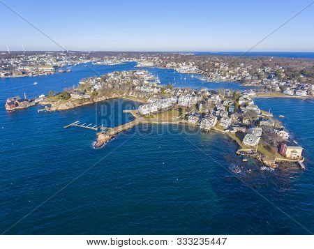 Aerial View Of Rocky Neck And Gloucester Harbor In City Of Gloucester, Cape Ann, Massachusetts, Ma,
