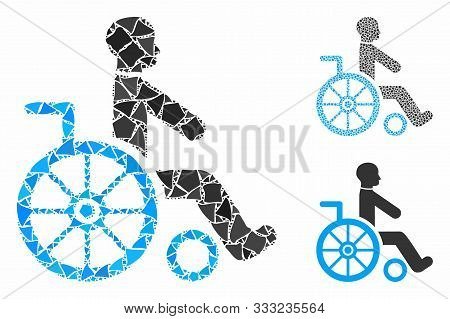 Wheelchair Mosaic Of Bumpy Parts In Variable Sizes And Color Tinges, Based On Wheelchair Icon. Vecto