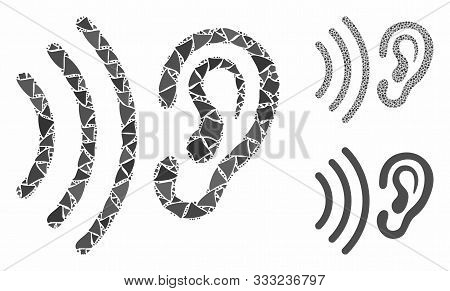 Listen Mosaic Of Rugged Items In Different Sizes And Shades, Based On Listen Icon. Vector Trembly Pa