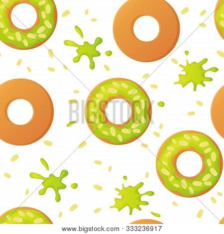 Sweet Pistachio Colorful Baked Glazed Donuts Or Doughnuts With Nuts Seamless Pattern With Sprinkles