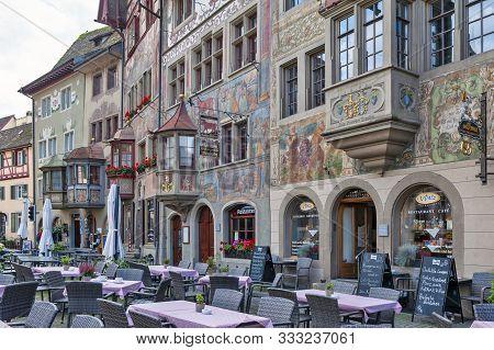 Stein Am Rhein, Switzerland - October 2019: Historic Medieval Building With Unique Bay Windows Decor