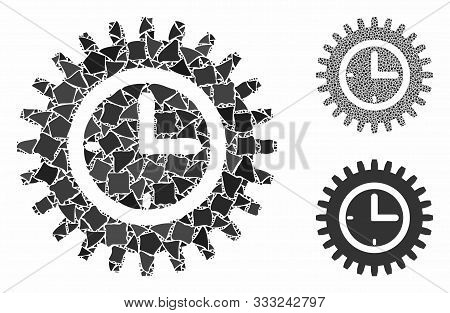 Time Options Composition Of Uneven Parts In Various Sizes And Color Hues, Based On Time Options Icon