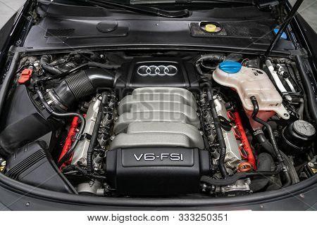 Novosibirsk, Russia - October 10, 2019:  Audi A6,closeup Of A Clean Motor Block, . Internal Combusti