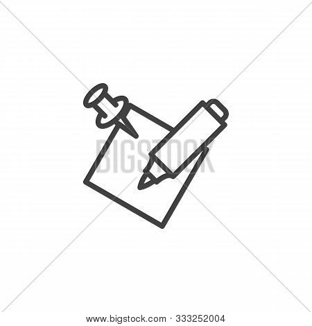 Felt Pen And Memo Paper Line Icon. Linear Style Sign For Mobile Concept And Web Design. Notepaper Wi