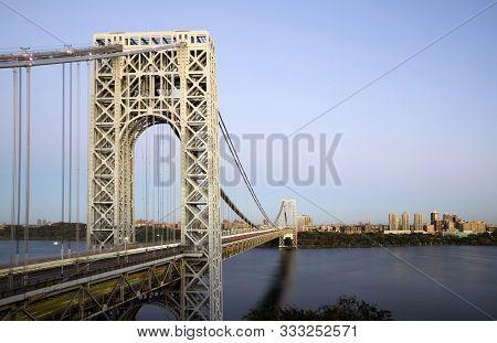 George Washington Bridge As Viewed From New Jersey And Facing Manhattan.