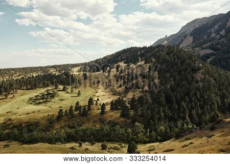 Foothills And Rocky Mountains At Ncar Trail Head, National Center For Atmospheric Research, In Bould