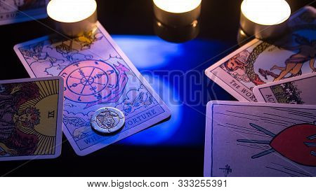 Bangkok, Thailand, Nov.13.19: Christmas Divination By Candlelight On Tarot Cards. Cards For Divinati