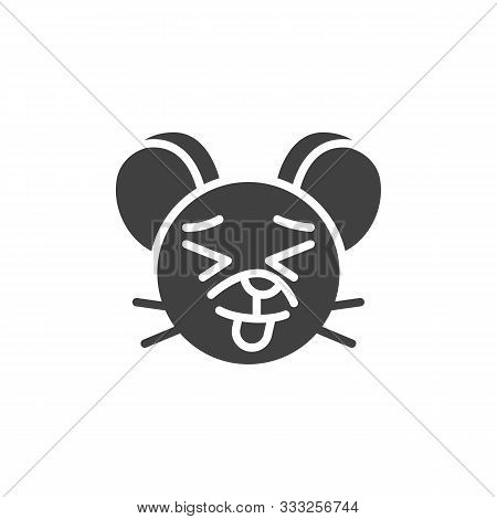 Showing Tongue Rat Emoticon Vector Icon. Filled Flat Sign For Mobile Concept And Web Design. Stuck-o