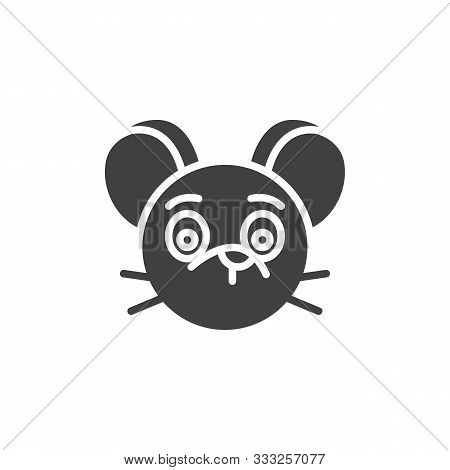 Silent Rat Emoticon Vector Icon. Filled Flat Sign For Mobile Concept And Web Design. Silent Mouse Fa
