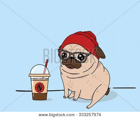 Creative Conceptual Food Drink Beverage Vector Illustration. Pug Dog With Fashionable Hat  Cap Beani