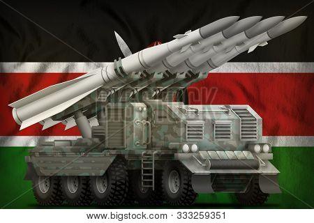 Tactical Short Range Ballistic Missile With Arctic Camouflage On The Kenya Flag Background. 3d Illus