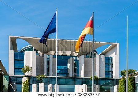 Berlin, Germany - July 28, 2019: The Bundeskanzleramt, German Federal Chancellery, Main Seat And Off