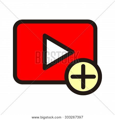 Add Video Icon Isolated On White Background From Essentials Collection. Add Video Icon Trendy And Mo