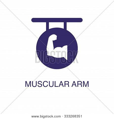 Muscular Arm Element In Flat Simple Style On White Background. Muscular Arm Icon, With Text Name Con