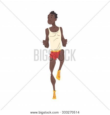 Young African American Man Running, Professional Sprinter Character In Sportswear, Active Sport Life