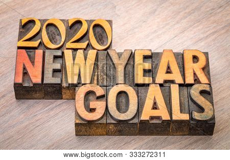 2020 New Year goals  word abstract in vintage letterpress wood type, goal setting and resolutions concept