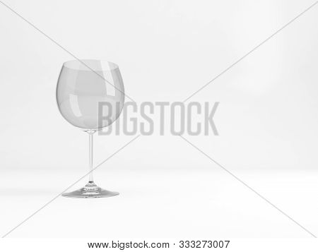 An Empty Standard Chardonnay Wine Glass Stands Over White Background With Soft Shadow , 3d Rendering