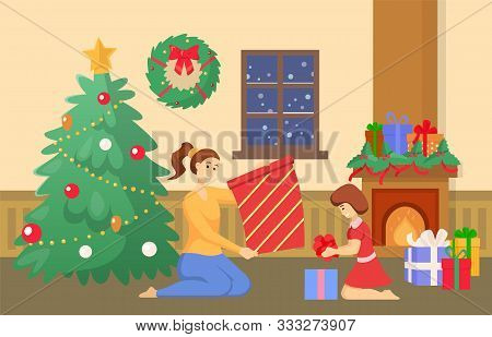 People Celebrating Christmas At Home Vector. Mother And Daughter In Room Unpacking Presents For Wint