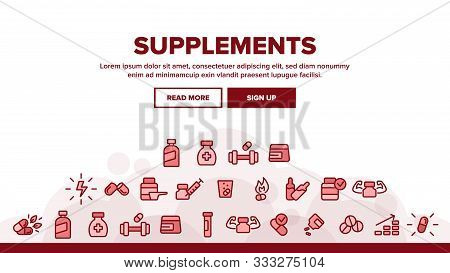 Supplements Landing Web Page Header Banner Template Vector. Sportsman Plastic Container With Protein