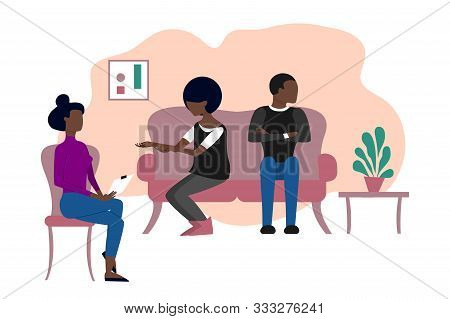 Married Black Couple Having Therapeutical Meeting At Psychologist Office. Flat Style Stock Vector Il