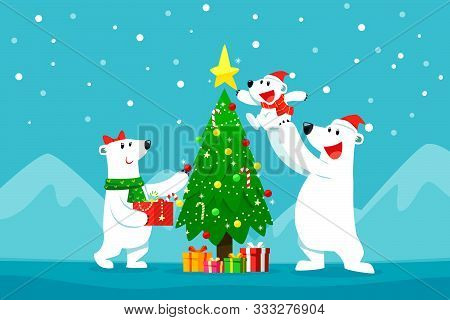 Polar Bear Family Decorating Christmas Tree.christmas Cartoon Illustration.