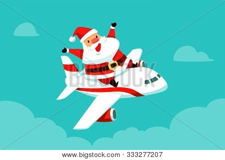 Santa Claus Riding On Top Of Flying Airplane To Travel Around The World. Christmas Cartoon Illustrat