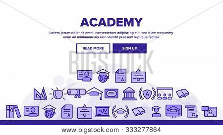 Academy Study Landing Web Page Header Banner Template Vector. Graduation Cap And Diploma, College Bu