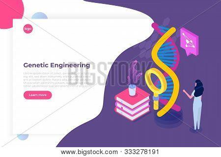 Crispr Cas9 - Genetic Engineering Isometric Concept. Vector Illustration
