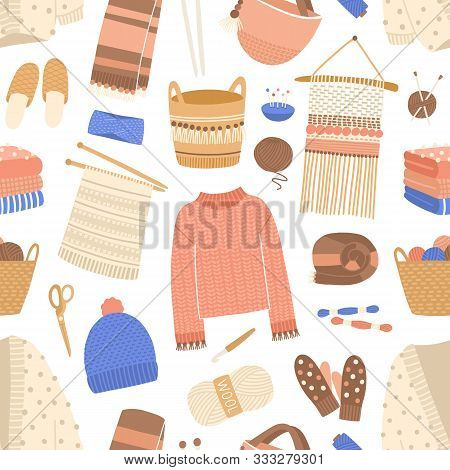 Knitted Items Flat Vector Seamless Pattern. Knitting And Sewing Tools Texture. Woolen Clothes And Ha
