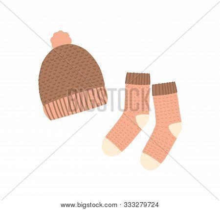 Knitted Hat And Socks Flat Vector Illustration. Warm Clothing, Winter Knitwear. Handmade Headwear An