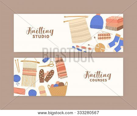 Knitting And Crochet Banner Flat Templates. Handmade Studio And Courses. Creative Handicraft Worksho