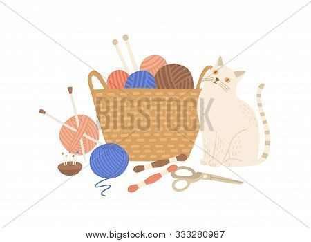 Knitting Kit And Cute Cat Flat Vector Illustration. Adorable Animal Near Basket With Yarn Balls, Nee