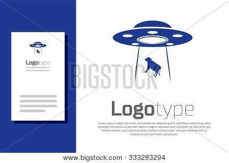 Blue Ufo Abducts Cow Icon Isolated On White Background. Flying Saucer. Alien Space Ship. Futuristic