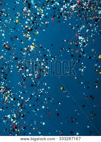 Abstract Dark Blue Background With Glitter Sparkle Confetti, Holiday Concept, Happy Birthday Invite,