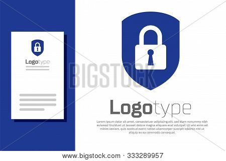 Blue Shield Security With Lock Icon Isolated On White Background. Protection, Safety, Password Secur