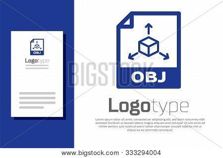 Blue Obj File Document. Download Obj Button Icon Isolated On White Background. Obj File Symbol. Logo