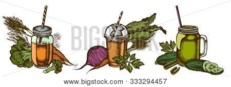Smoothies Set Of Colored Broccoli, Beet, Smoothie Cup, Smothie Jars, Cucumber, Celery Stock Illustra