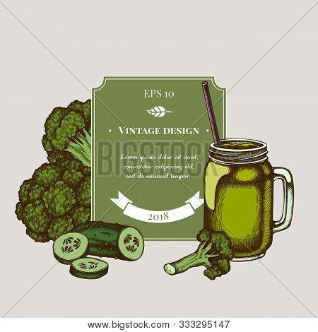 Badge Design With Colored Broccoli, Smothie Jars, Cucumber Stock Illustration